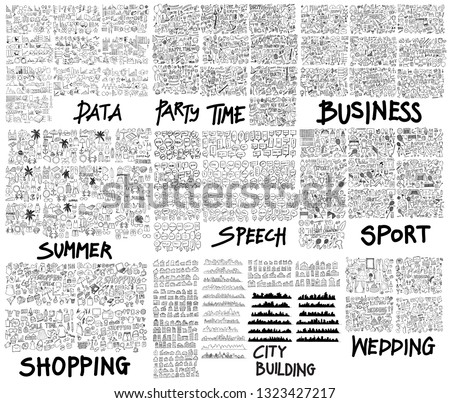 Doodle Vector illustration Big collection of Data, Party, Business, Summer, Speech, Sport, Shopping, City, House, Wedding