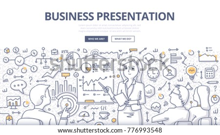 Doodle vector illustration of a businesswoman leading meeting, giving presentation to audience. Concept of business presentation for web banners, hero images, printed materials