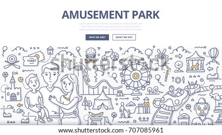 Doodle vector illustration of a family in amusement park. Concept of recreation and having fun in a themed park for web banners, hero images, printed materials