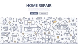 Doodle vector illustration of a handyman with screwdriver in hand surrounded with construction tools & elements. Concept of home repair & renovation for web banners, hero images, printed materials