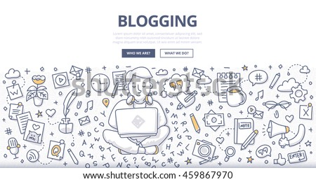 Doodle vector illustration of a man with a laptop creating quality content, writing an article for blog
