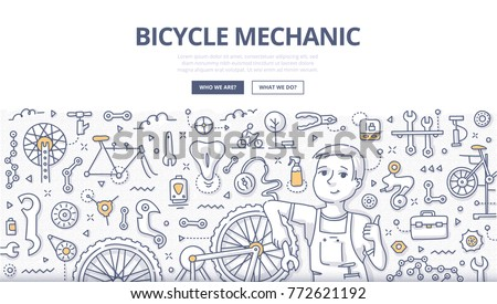 Doodle vector illustration of a mechanic repairing bicycle in a workshop. Bicycle repair shop concept for web banners, hero images, printed materials