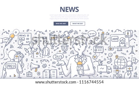 Doodle vector illustration of a reporter broadcasting news. Concept of live news reporting, mass media and journalism for web banners, hero images, printed materials