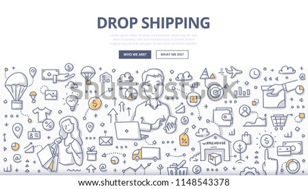 Doodle vector illustration of a retailer transferring customer's order to manufacture. Concept of how drop shipping works for web banners, hero images, printed materials