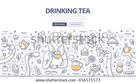 Doodle vector illustration of a woman drinking tea with tea time symbols around such as cake, teapot, sugar, lemon, cookies. Concept of having tea for web banners, hero images, printed materials
