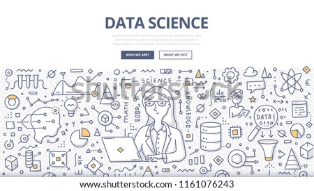 Doodle vector illustration of a woman with laptop cleansing, preparing and analyzing data. Concept of data science for web banners, hero images, printed materials