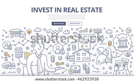 Doodle vector illustration of buying, renting property. Concept of real estate investment for web banners, hero images, printed materials