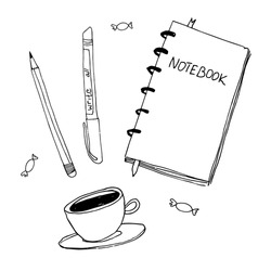 Doodle vector illustration of coffee, notebook and pen, primitive drawing. Modern minimalism sketch art. Black and white