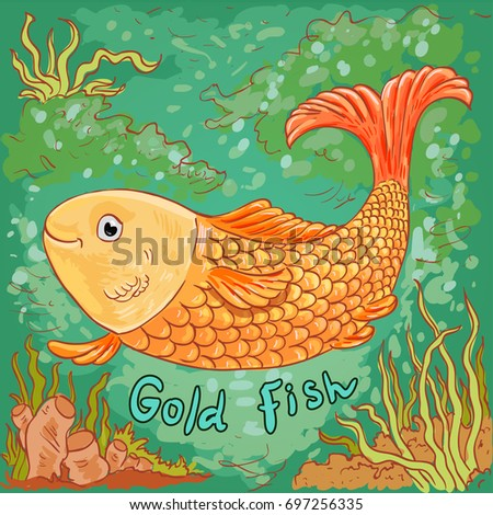 Doodle vector illustration of gold fish, sea background, underwater drawing
