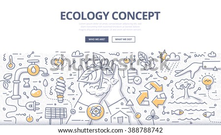 Doodle vector illustration of man properly using and protecting nature. Ecology concept of nature conservation and preservation for web banners, hero images, printed materials