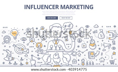 Doodle vector illustration of social influencer telling brand's story, affecting customer's purchasing decision, spreading the word through personal social channels. Outreach marketing concept