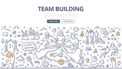 Doodle vector illustration of team building technics and activities. Group of people stack hands over the table, working together as team. Teamwork concept for web, hero images, printed materials