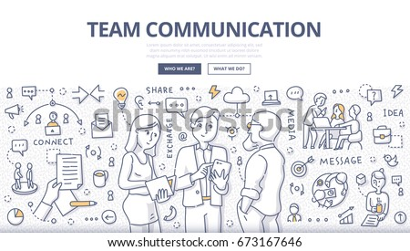 Doodle vector illustration of team members discussing business project. Concept of team communication, collaboration & teamwork for web banners, hero images, printed materials
