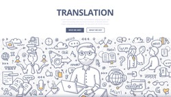 Doodle vector illustration of translator at work. Concept of translating and interpreting for web banners, hero images, printed materials