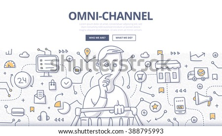 Doodle vector illustration of variety of channels in a customer's shopping experience. Concept of multichannel approach to sales for web banners, hero images, printed materials