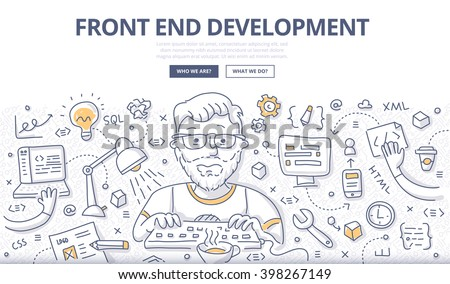 Doodle vector illustration of web developer creating website, client web application, interface. Front-end development concept for web banner, hero image, printed material