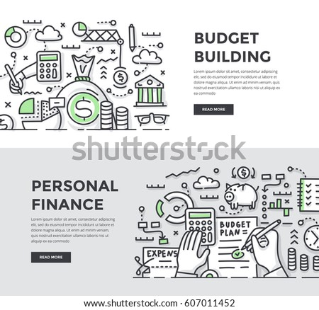 Doodle vector illustrations of building, planning and managing personal & corporate finances. Abstract concepts for web banners, hero images, printed materials