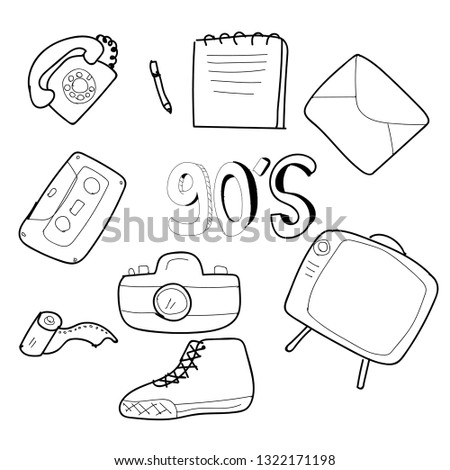 Doodle Computer And Technology Icons Stock Photo 171280928