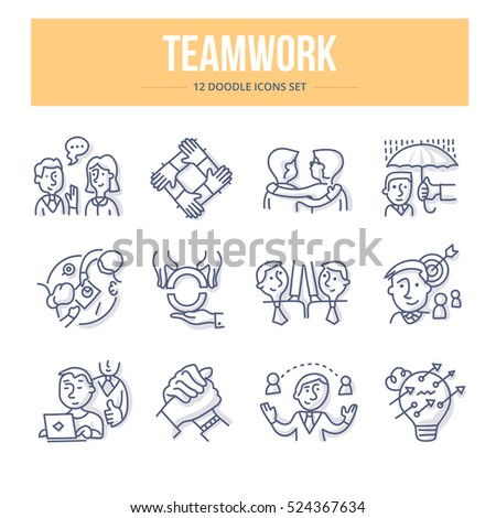 Doodle vector line icons of teamwork, partnership and social communication in business