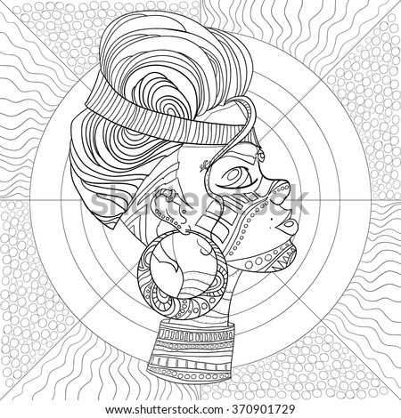 Vector Images Illustrations And Cliparts Doodle Vector Monochrome Decorative Afro Woman Profile With Beautiful Pattern Hair Coloring Book Anti Stress For Adult And Older Children Coloring Page With Vintage Ornament Hqvectors Com