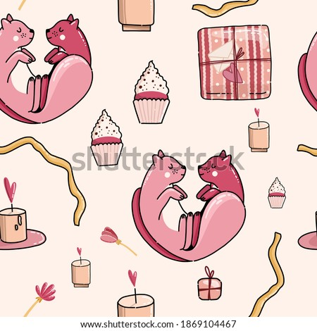doodle vector pattern with cats