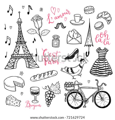 doodle vector set with hand