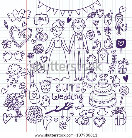 Vintage Wedding Set In Cartoon Style On Chalkboard Background