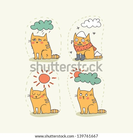 doodle weather icon set with a