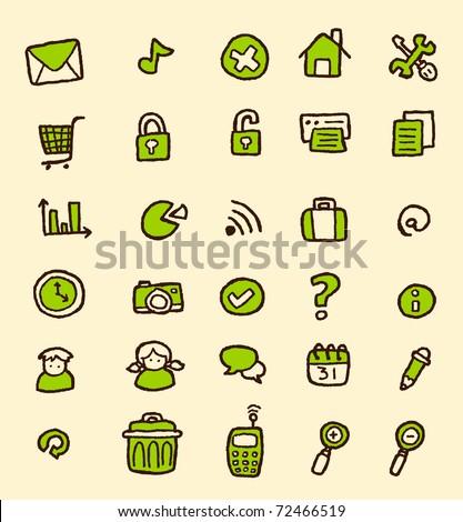 doodle web icon set