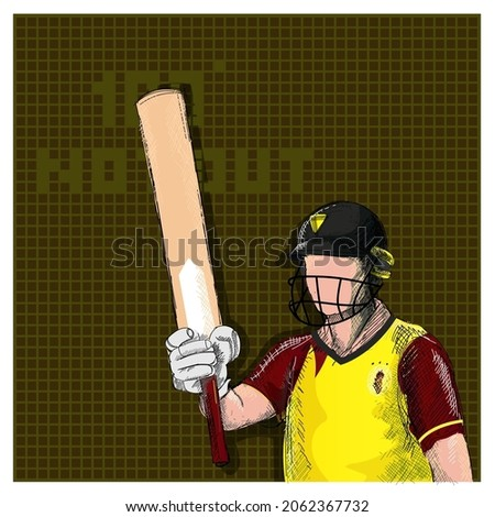 Doodle West Indies Cricket Batter Raising His Bat And 100 Not Out Font On Brown Grid Background.
