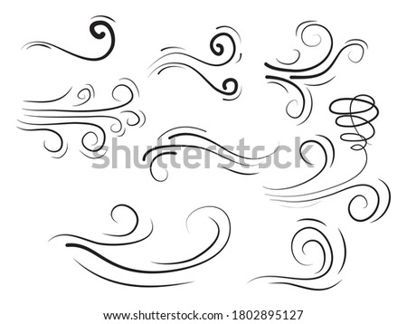 doodle wind  blow, gust design isolated on white background. vector hand drawn illustration Stockfoto ©