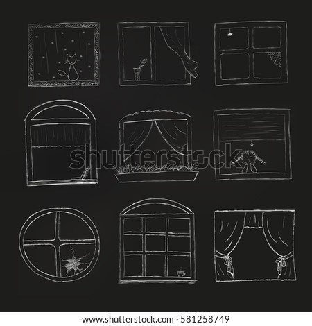 doodle windows set isolated on