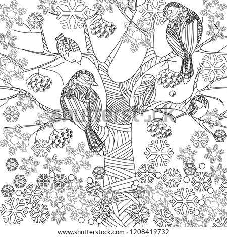 Doodle winter drawing. Art therapy coloring page
