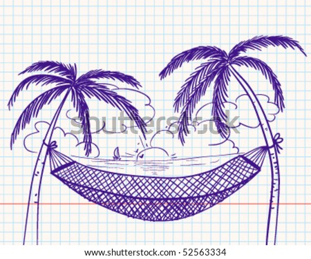 Doodle with hammock and palms