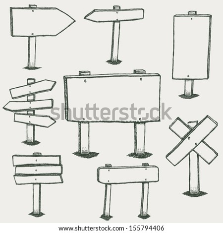 Doodle Wood Signs And Direction Arrows/ Illustration of a set of hand drawn sketched design wood panels and road signs #155794406