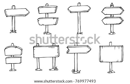 Doodle wood signs, hand drawn wooden direction arrows set. Sketch wooden arrow, illustration of frame wooden plank. vector for your web design. #769977493