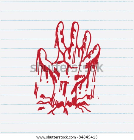 doodle zombie hand illustration vector
