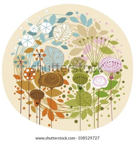 Doodled, decorative illustration of the four seasons