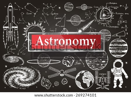 doodles about astronomy on