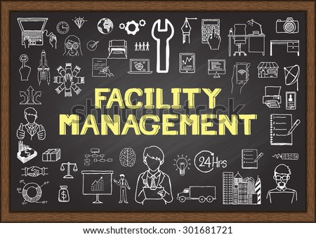Doodles about facility management on chalkboard.