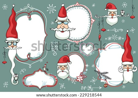 doodles badgeslabels frames with santa facessnowflakeshumor christmas new
