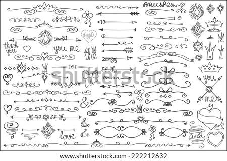 doodles border arrow brushes