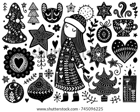 Doodles Christmas elements. Color vector items. Illustration with new year decor. Scandinavian Design for prints and cards.