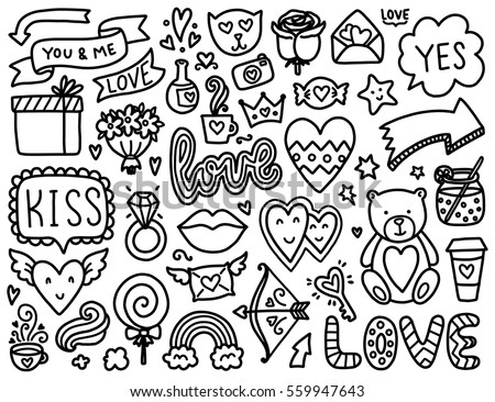 Doodles Cute Elements Black Vector Items Illustration With Hearts And Flowers Animals