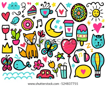 Stock Photo Doodles cute elements. Color vector items. Illustration with hearts and flowers, animals and coffee, eat and stars.