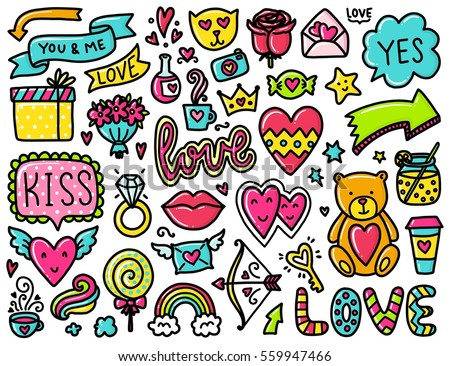 Doodles cute elements. Color vector items. Illustration with hearts and flowers, animals and tea, cloud and stars. Design for prints and cards. Valentine's day theme poster. #559947466