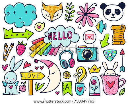 Doodles Cute Elements Color Vector Items Illustration With Hearts And Flowers Cloud
