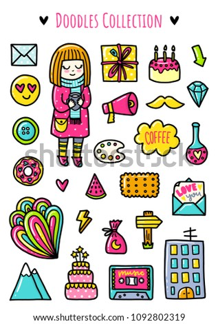 Doodles cute elements. Color vector items. Illustration with stickers. Design for prints and cards.