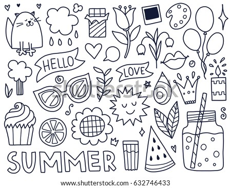 doodles cute isolated elements