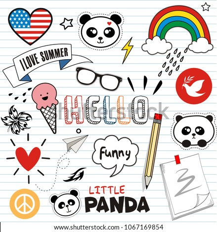 Doodles cute panda and elements #1067169854